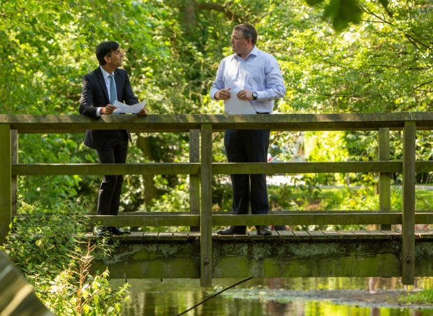 Richmond MP Rishi Sunak and Paul Eckersley, Environment Agency, Project Manager pictured during a tour of Stokesley walking along the River Leven whilst talking about the Flood Alleviation Scheme.