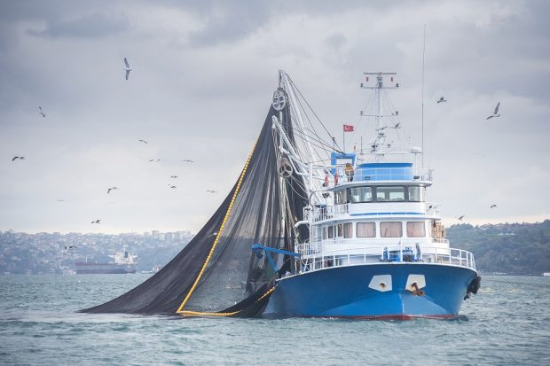 A fishing trawler in the ocean