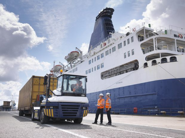 Image of a lift loading an ISO container onto a ferry