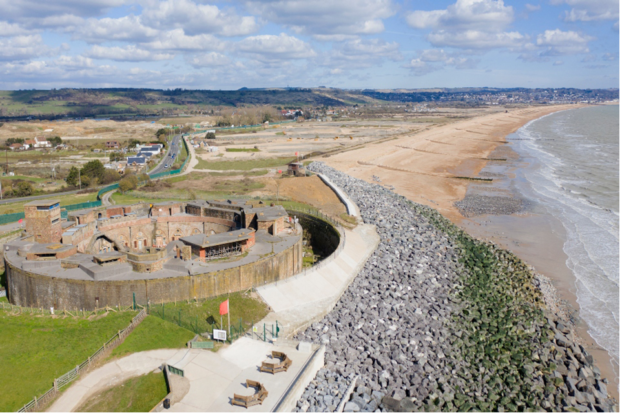 The completed Hythe Ranges low-carbon concrete sea defence scheme, March 2021