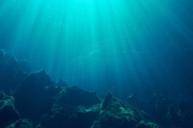 Sun rays penetrating water column in the sea